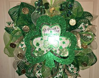 St Patricks Day wreath, Shamrock Wreath, Irish Wreath, Spring Wreath, Front door wreath, Green Wreath, St Patricks decor, Irish decor