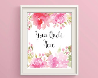 Custom Poem Print Floral Custom Quote Print Custom Text Print Custom Print Quote Your Quote Here Personalized Quote Your Message Here
