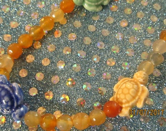 "Carnelian and Turtle Bracelet / Anklet 9"" #49"