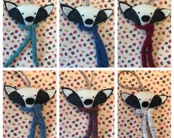 Handmade Felt Badger Christmas Decoration - Scarf - Angus - Scarves - Badgers