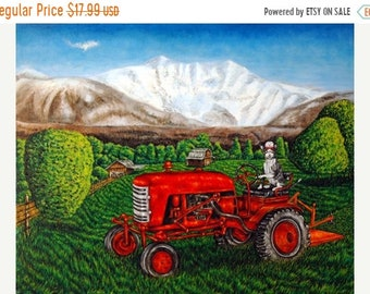 25% off cat art - Devon rex Cat on the Farm Riding a Tractor Animal Art Print, cat gifts, gift