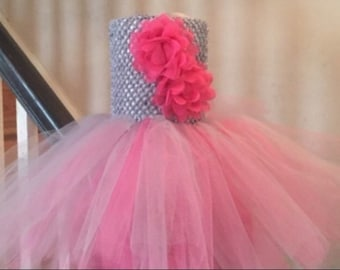 Pink and silver flower tutu dress