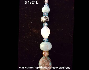 Beaded Ceiling Fan Pull with crystals and stones