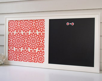 Magnetic Chalkboard Organizer Message Center Office Red and White Amy Butler Fabric Magnet Bulletin Board 17.5 x 33 Memo Handmade Frame