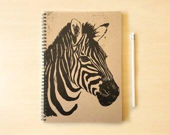 Zebra Kraft Notebook/Sketchbook Spiral Bound - Blank pages