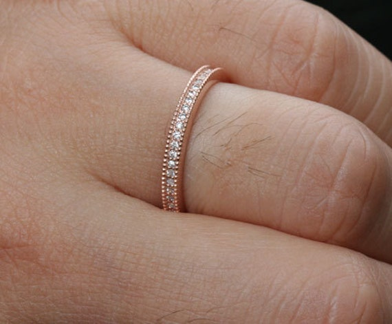 products gold wedding anniversary vintage bwg diamond white inspired milgrain bands band