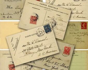 Printable Digital Postcards, Vintage Postcards, Digital Collage Sheet, Ephemera, Instant Download