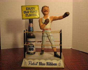 Vintage Pabst Blue Ribbon Beer Metal boxer Display