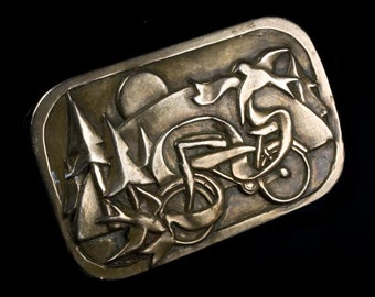 Bicycle and Sparrows - Hand Cast Bronze Paperweight