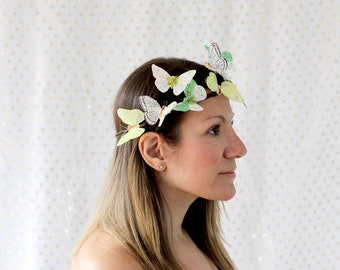 Green Butterfly Crown - princess, fairy, bride