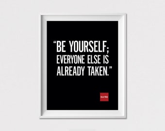 Motivational Print, Wall Art Poster, Be yourself, Oscar Wilde Quote Art, Inspirational Print, Minimalist Poster, Home Decor, ArtFilesVicky