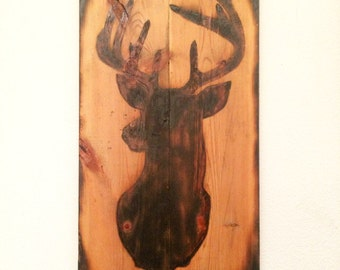 Burnt Deer-Head Wall Decor