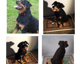 Custom felted Rottweiler dog sculpture pet replica Portrait made to order