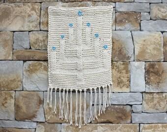 Handknitted Hanukkah Wall Hanging. Menorah decoration. Star of David. One of a Kind. Jewish Decor. Judaica decoration. Hanukkah Decoration.