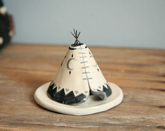 Teepee Incense Holder, Handmade Ceramic Moon Phase Design, Meditation Altar, Cone Incense Burner, Stoneware Clay Pottery, Unique Yogi Gift