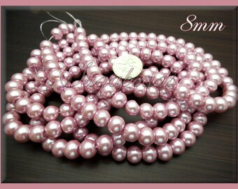 50 Soft Pink Glass Pearl Beads 8mm