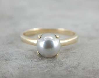 Traditional Grey Solitaire Pearl Ring, June Birthstone, Anniversary Ring Q0J3J6-R