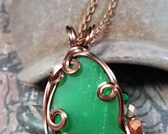 Green Sea Glass Antiqued Copper Wire Wrapped Necklace