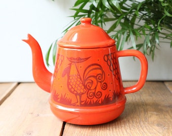 Vintage retro enamel teapot, orange enamel tea pot, retro kitchenware