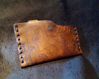Leather octopus Cthulhu card case