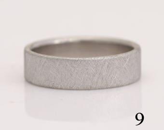Palladium ring, 950 Pd wedding band, size 9 or custom sizes, cross-hatch texture, #790.