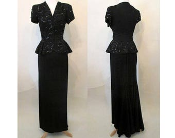 Hollywood Glamor 1940's Designer Two Piece Evening Gown Party Dress with peplum, sequins and fish tail size Small/Medium
