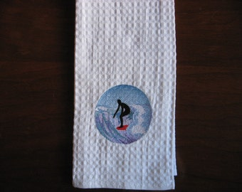 Surfer Sillouette. Surfing the Waves. Embroidered Kitchen Towel.Surfing Dude.Surfer Towel.Surfing.