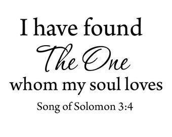 "VWAQ I Have Found ""The One"" Whom My Soul Loves Wall Decal Bible Wall Art VWAQ-2786"