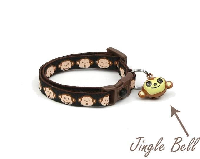 Monkey Cat Collar - Monkey Faces on Black - Small Cat / Kitten Size or Large Size