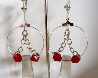 Silver Hoop Earrings with Smoke and Red Crystal Beads and Chains