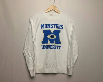 Sale!! Vintage Monsters University Disney Pixar Sweatshirt Big Logo Spell Out Rare