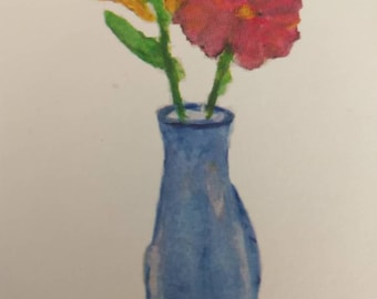 Watercolor two flower vase blank notecards-