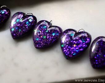 Resin Jewelry, Amethyst Pendant, Glitter Heart, Dark Lavender Heart, Purple Stars Glitter Heart Resin Pendant Necklace, Handmade by isewcute