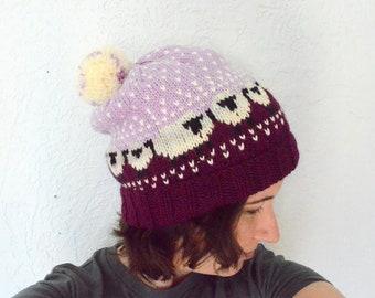 Adorable Knit Purple Sheep Hat