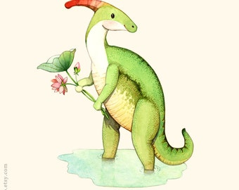 Dinosaur illustration, Watercolor painting, Dinosaur poster, Dinosaur art, Dinosaur painting, Dinosaur wall art, P is for Parasaurolophus