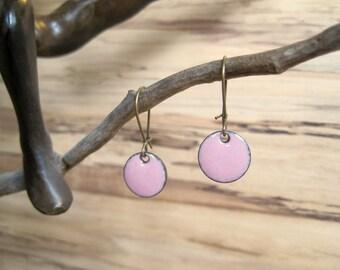 Clover Pink Dangle Earrings, Pink Drop Earrings, Soft Pink Earrings, Copper Enamel Jewelry, Nickel Free Kidney Earwires, Handmade Earrings