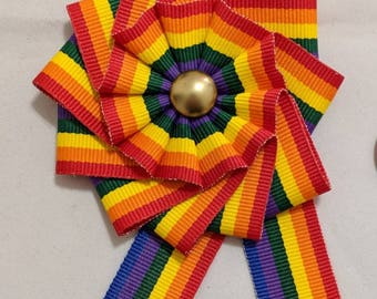 Small Rainbow Cockade for Hats or Clothing - Rosette Ribbon