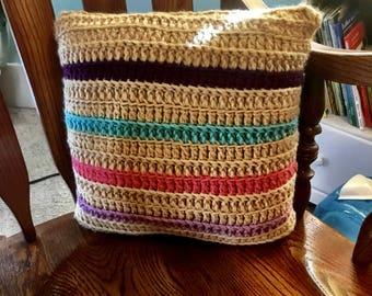 Baby Girl Nursery Pillow, Crochet Pillow, Whimsical Nursery Pillow, Fairytale Nursery Pillow