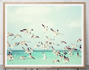 Nautical Decor, Turquoise Art, Birds Print, Seagulls Print, Relaxation Print, Printable Poster, Beach Coastal Decor, Birds Wall Art, 110v