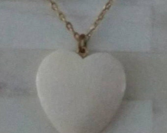 """Necklace / Heart / Off White Enamel / 1"""" x 1""""  on 19"""" (end to end) Gold Chain"""