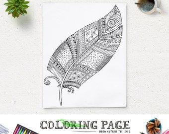 SALE Printable Feather Coloring Page Feather Doodle Art Coloring Book Adult AntiStress Art Therapy Instant Download Zen Printable Feather