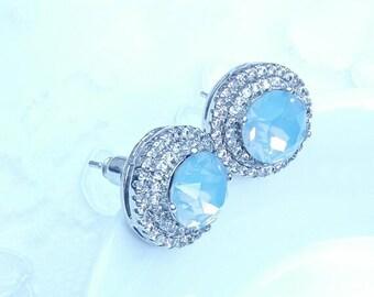 Crystal bridal earrings Wedding crystal earrings Crystal jewelry blush rose rhinestones earrings Bridesmaids earrings Bridal jewelry BJ016