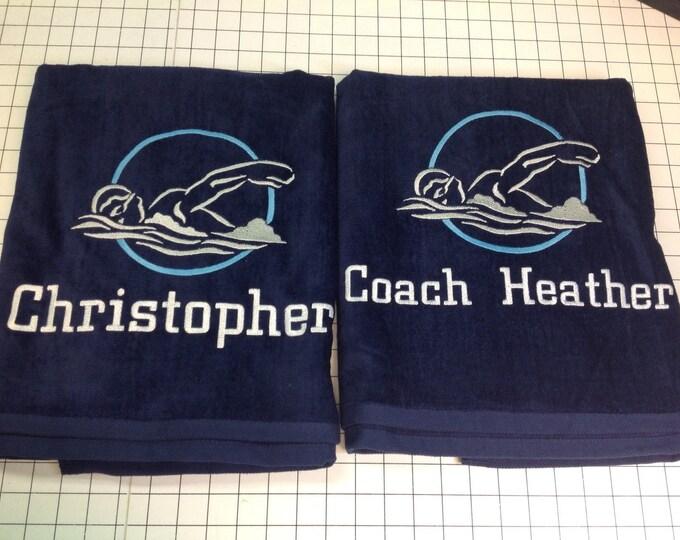 Swim team towels, Pool, Personalized, Beach towel, bath towel, monogrammed towels, water polo, pool towel, bridesmaid gift, monogrammed