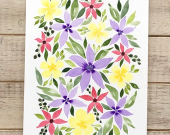 Purple Pink & Yellow Watercolor Florals