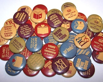 """Books Reading Pins (10 Pack) 1"""" or 1.5"""" or 2.25"""" Pin Backs or Magnets Back to School, Book Buttons, Back To School Party Favors, Book Club"""
