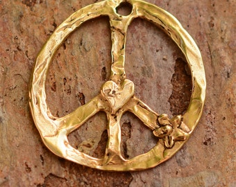 Rustic Gold Bronze Peace Pendant CH-259, Hippie Peace, Peace Love Jewelry