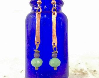 Thin Copper Bar Drop Dangle Earrings / Czech Glass Beads / Hammered Metal / Spring Green Bead / Purple Bead / Nina Carina / Gift idea