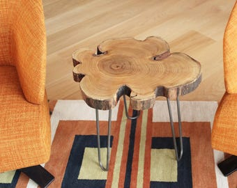 Black Locust Live Edge End Table/Wood Slice Table With Steel Hairpin Legs/ Wood