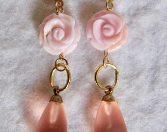LC Carved Conch Rose and Glass Drops 14kt GF Leverback Pierced Earrings