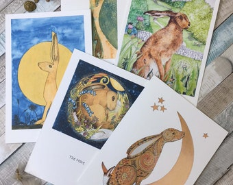 A set of 5 Magical Hares cards pick and mix
